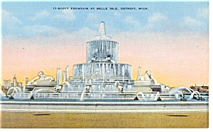 Scott Fountain, Belle Isle, Detroit MI Postcard (Image1)