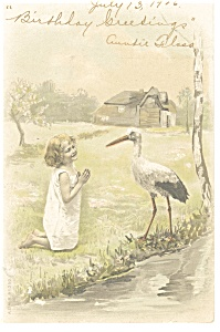 Little Girl with Stork Postcard 1906 (Image1)
