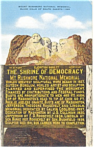Mt Rushmore Shrine of Democracy Postcard (Image1)
