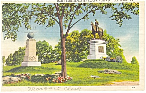 Gettysburg PA  Slocum Monument Postcard p9741 1938 (Image1)