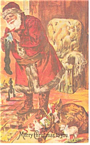 Santa Filling Stockings Postcard p9751 (Image1)