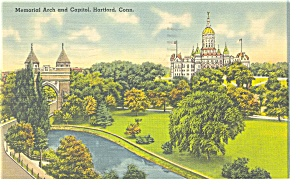 State Capitol, Memorial Arch,Hartford, CT  Pcard 1942 (Image1)