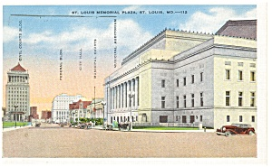 St Louis. MO, Memorial Plaza Postcard 1941 (Image1)