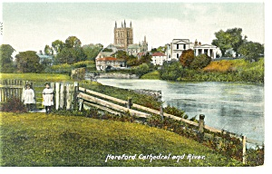 Hereford Cathedral and River UK Postcard p9858 (Image1)