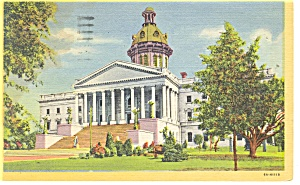 Columbia, SC State Capitol Linen Postcard 1953 (Image1)