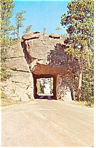 Mt Rushmore,SD, Seen Thru Road Tunnel Postcard (Image1)
