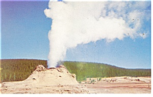 Yellowstone National Park WY Castle Geyser Postcard p9964 (Image1)