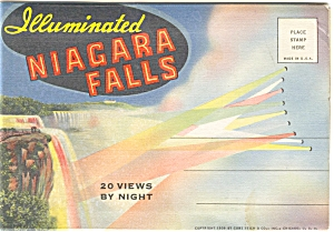 Niagara Falls By Night Linen Souvenir Folder Sf0036