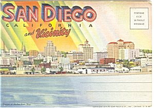 San Diego CA Linen  Souvenir Folder (Image1)