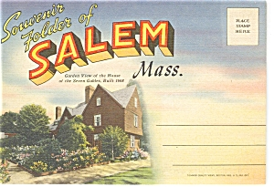 Salem, Ma Linen Souvenir Folder Sf0073