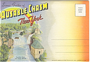 Ausable Chasm, Ny Linen Souvenir Folder Sf0075