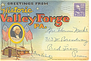 Valley Forge Pa Linen Souvenir Folder Sf0084