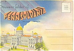 Linen Souvenir Folder Of Pennsylvania 18 Views Sf0086