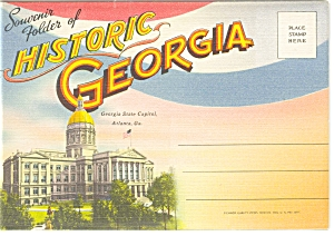 Historic Georgia Linen Souvenir Folder Sf0091