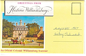 Historic Williamsburg, Va Souvenir Folder Sf0113