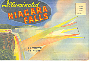 Niagara Falls At Night, Linen Souvenir Folder