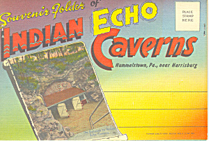 Indian Echo Caverns,pa Linen Souvenir Folder
