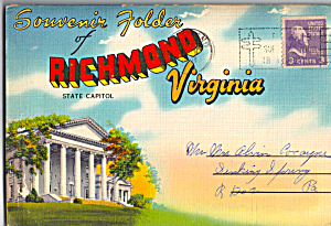 Richmond, Virginia Souvenir Folder Sf0466