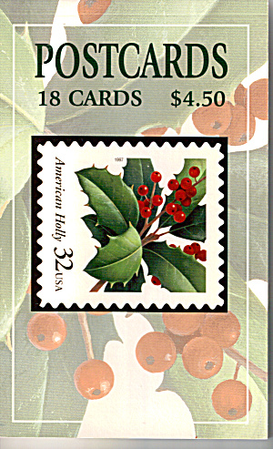 Book Of 18 American Holly Stamp Postcards Sf0551