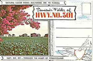 Highway Us 301, Maryland To Florida, Souvenir Folder Sf0682
