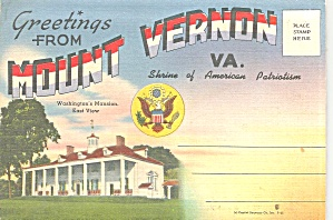 Greetings From Mount Vernon Va Souvenir Folder Sf0717