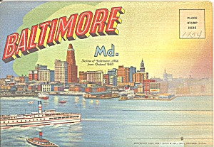 Baltimore Md Souvenir Folder Sf0724
