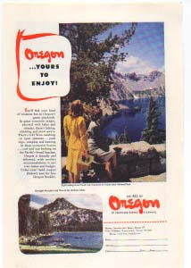 Oregon Tourist Ad 1940s Crater Lake (Image1)