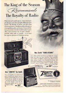 Zenith Portable Radios Ad 1940s (Image1)