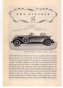 Lincoln V-12 Sport Phaeton Ad 1932 (Image1)