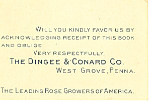Dingee Conard Rose Grower Trade Card