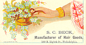 S.C. Beck Hair Goods Trade  Card (Image1)