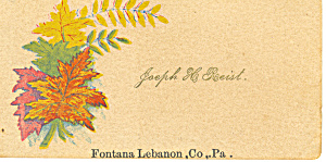 Victorian Calling  Card Joseph H. Roeist (Image1)
