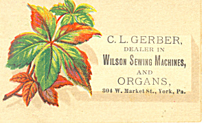 Wilson Sewing Machines Trade Card