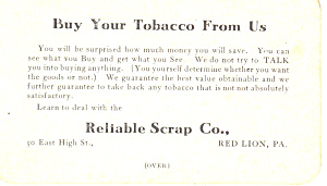 Tobacco Dealer Red Lion Pa Trade Card