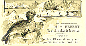 Watchmaker And Jewelry Trade Card York,pa