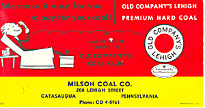 Milson Coal Co Advertising Blotter Catasauqua PA tc0093 (Image1)