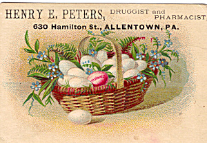 Henry E Peters Druggist Trade Card Tc0115