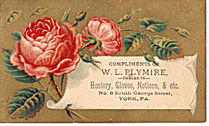W L Plymire, Hoisery,Gloves,Notions Trade Card (Image1)