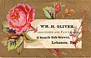 Wm H Oliver Confectioner And Fancy Baker Trade Card Tc0121