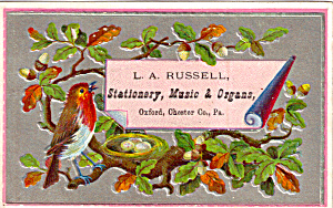L A Russell Staionary Music Etc Trade Card Tc0124