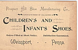 Prospect Hill Shoe Manufacturing Co Trade Card Tc0137