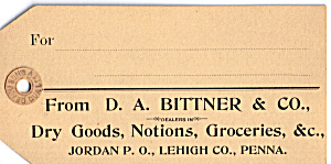 D A Bittner And Co Dry Goods Trade Card Tc0151