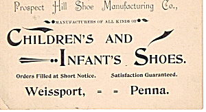 Prospect Hill Shoe Manufacturing Co Trade Card Tc0154