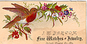 J W Barton Fine Watches And Jewelry Trade Card Tc0174