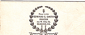 Edward S. Smith Printer Blotter Tc0188