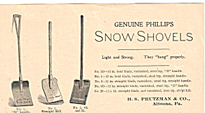 Genuine Phillips Snow Shovels Trade Card Tc0199