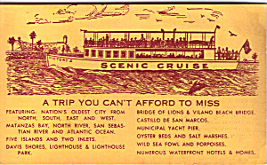 St Augustine Cruises on Victory II Adv Card tc0225 (Image1)