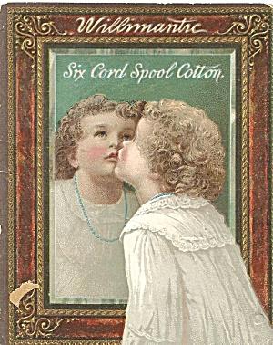 Willimantic Six Cord Spool Cotton Thread Trade Card tc0242 (Image1)