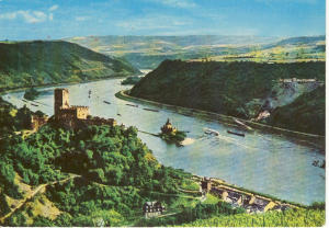 Rhine River Castle Scene Germany Postcard v0031 (Image1)