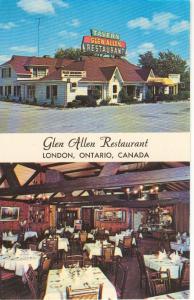 Glen Allen Restaurant Ontario Canada Postcard v0199 (Image1)